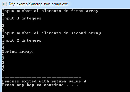 C Program to Merge Two Arrays