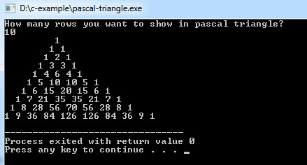 pascal triangle in c using 2d array