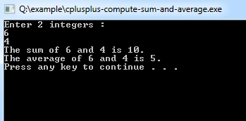 C++ Compute the Sum and Average of Two Numbers
