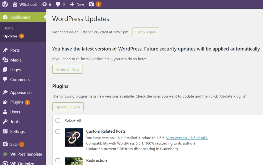 WordPress Updates Page